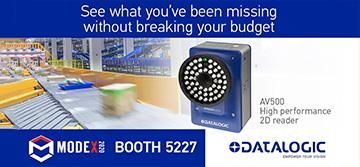 Datalogic showcases the new AV500 barcode reader at MODEX 2020 on live conveyor
