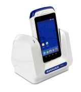 Joya Touch A6 Retail ~ White Handheld in Cradle, Right Facing