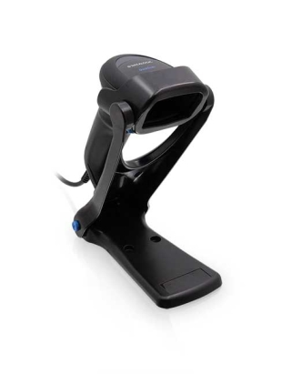 QuickScan QD2500, Black, right facing in collapsible stand