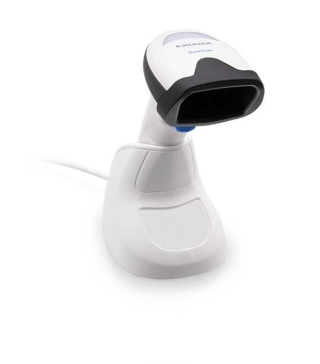 QuickScan QD2500, White, right facing, in stand